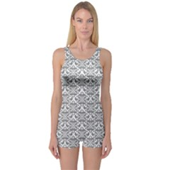 Gray Damask Women s Boyleg One Piece Swimsuits
