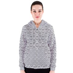 Gray Damask Women s Zipper Hoodies