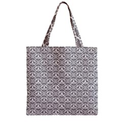 Gray Damask Zipper Grocery Tote Bags