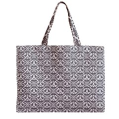 Gray Damask Zipper Tiny Tote Bags