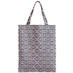 Gray Damask Zipper Classic Tote Bags