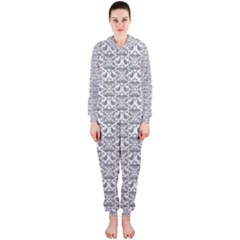 Gray Damask Hooded Jumpsuit (Ladies)