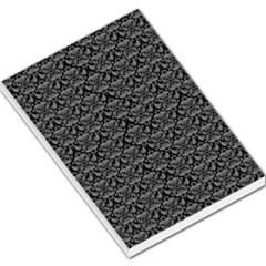 Silver Damask With Black Background Large Memo Pads