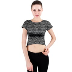 Silver Damask With Black Background Crew Neck Crop Top