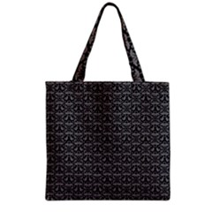 Silver Damask With Black Background Grocery Tote Bags