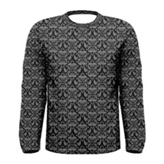 Silver Damask With Black Background Men s Long Sleeve T-shirts