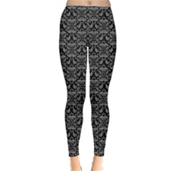 Silver Damask With Black Background Winter Leggings