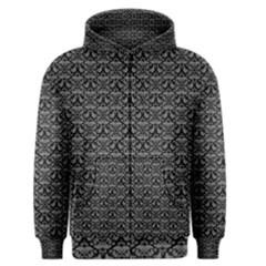 Silver Damask With Black Background Men s Zipper Hoodies
