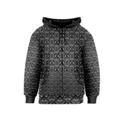 Silver Damask With Black Background Kids Zipper Hoodies