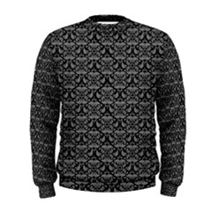 Silver Damask With Black Background Men s Sweatshirts