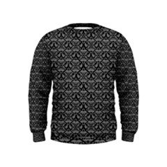 Silver Damask With Black Background Boys  Sweatshirts