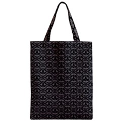 Silver Damask With Black Background Zipper Classic Tote Bags