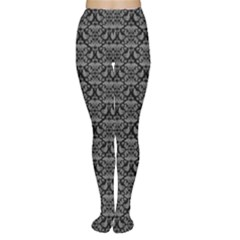 Silver Damask With Black Background Women s Tights