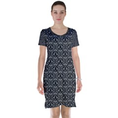 Silver Damask With Black Background Short Sleeve Nightdresses