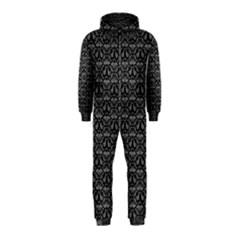 Silver Damask With Black Background Hooded Jumpsuit (kids)