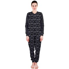Silver Damask With Black Background OnePiece Jumpsuit (Ladies)