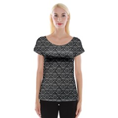 Silver Damask With Black Background Women s Cap Sleeve Top