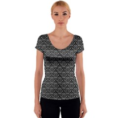 Silver Damask With Black Background Women s V-Neck Cap Sleeve Top