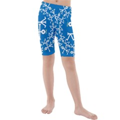 Birds And Olive Branch Circle Icon Kid s swimwear