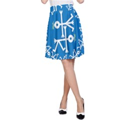 Birds And Olive Branch Circle Icon A-Line Skirts