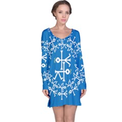 Birds And Olive Branch Circle Icon Long Sleeve Nightdresses