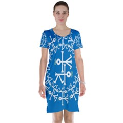 Birds And Olive Branch Circle Icon Short Sleeve Nightdresses