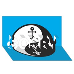 Yin And Yang Icon  Sorry 3d Greeting Card (8x4)