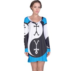 Yin And Yang Icon  Long Sleeve Nightdresses