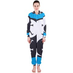 Yin And Yang Icon  Hooded Jumpsuit (Ladies)