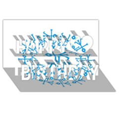Blue Birds And Olive Branch Circle Icon Happy Birthday 3d Greeting Card (8x4)