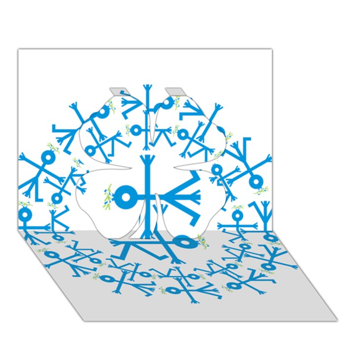 Blue Birds And Olive Branch Circle Icon Clover 3D Greeting Card (7x5)