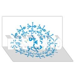 Blue Birds And Olive Branch Circle Icon BEST BRO 3D Greeting Card (8x4)