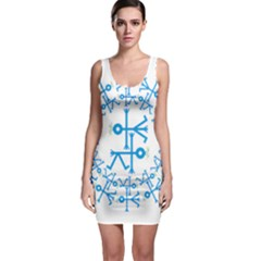 Blue Birds And Olive Branch Circle Icon Bodycon Dresses