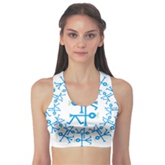 Blue Birds And Olive Branch Circle Icon Sports Bra