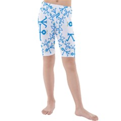 Blue Birds And Olive Branch Circle Icon Kid s Swimwear