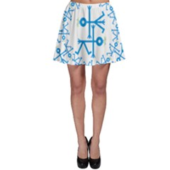 Blue Birds And Olive Branch Circle Icon Skater Skirts