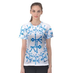 Blue Birds And Olive Branch Circle Icon Women s Sport Mesh Tees