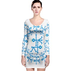 Blue Birds And Olive Branch Circle Icon Long Sleeve Bodycon Dresses