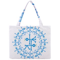 Blue Birds And Olive Branch Circle Icon Tiny Tote Bags