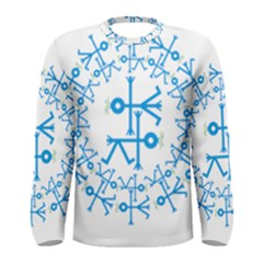 Blue Birds And Olive Branch Circle Icon Men s Long Sleeve T-shirts