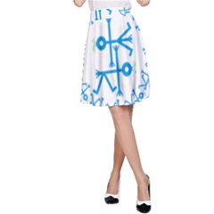 Blue Birds And Olive Branch Circle Icon A-Line Skirts