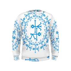 Blue Birds And Olive Branch Circle Icon Boys  Sweatshirts