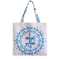 Blue Birds And Olive Branch Circle Icon Zipper Grocery Tote Bags