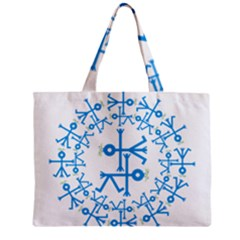 Blue Birds And Olive Branch Circle Icon Zipper Tiny Tote Bags