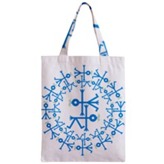 Blue Birds And Olive Branch Circle Icon Zipper Classic Tote Bags
