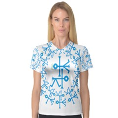 Blue Birds And Olive Branch Circle Icon Women s V-Neck Sport Mesh Tee