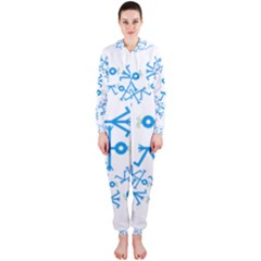 Blue Birds And Olive Branch Circle Icon Hooded Jumpsuit (Ladies)