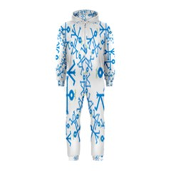 Blue Birds And Olive Branch Circle Icon Hooded Jumpsuit (kids)