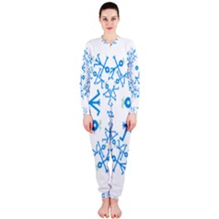 Blue Birds And Olive Branch Circle Icon Onepiece Jumpsuit (ladies)