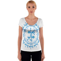 Blue Birds And Olive Branch Circle Icon Women s V-Neck Cap Sleeve Top